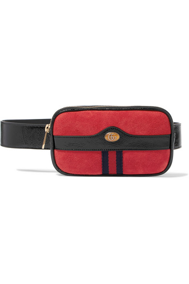18cbb429f75ddb Gucci - Ophidia Patent Leather-trimmed Suede Belt Bag - Red ...
