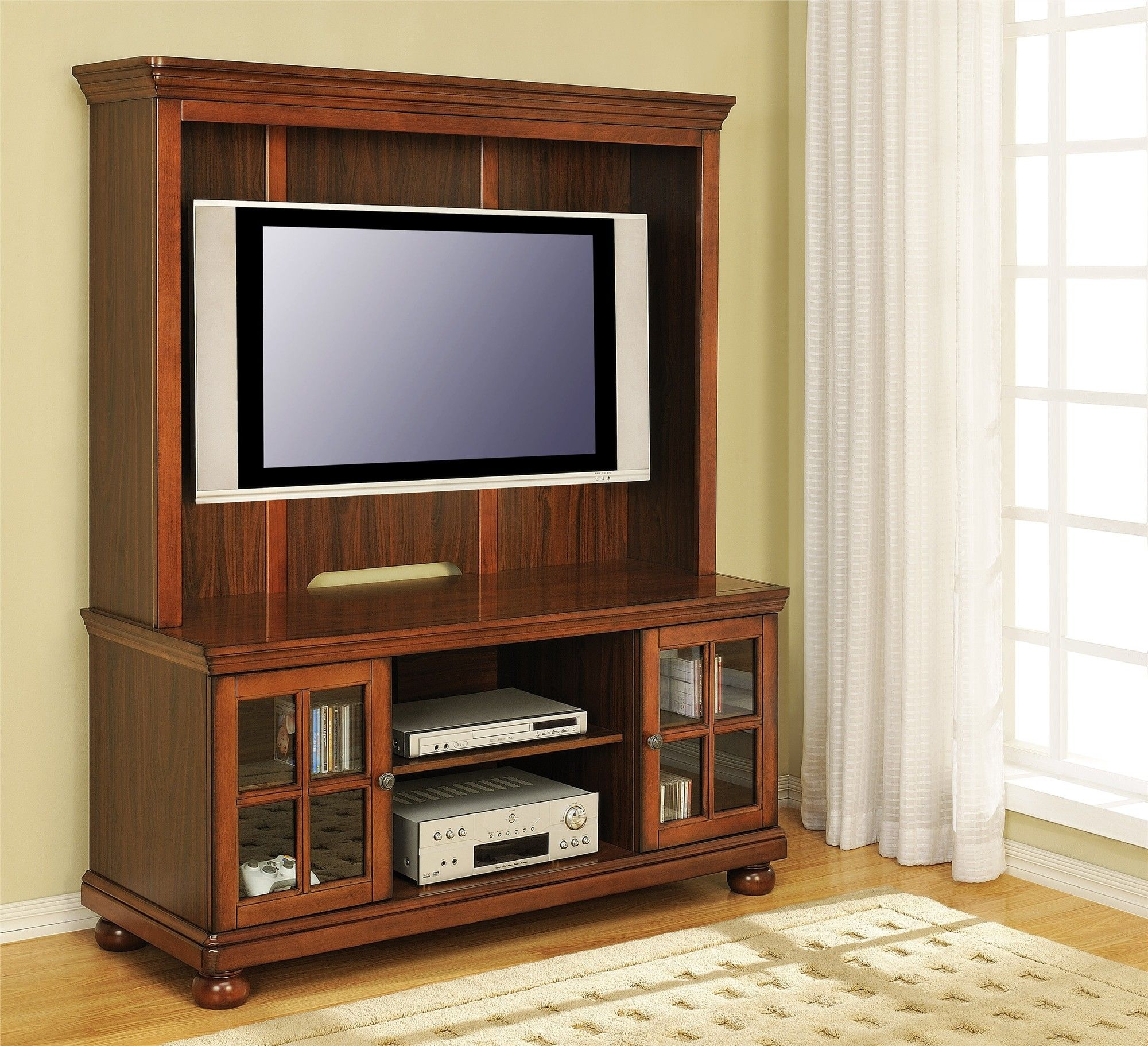 Solid Wood Tv Stand With Glass Doors Glass Doors Pinterest
