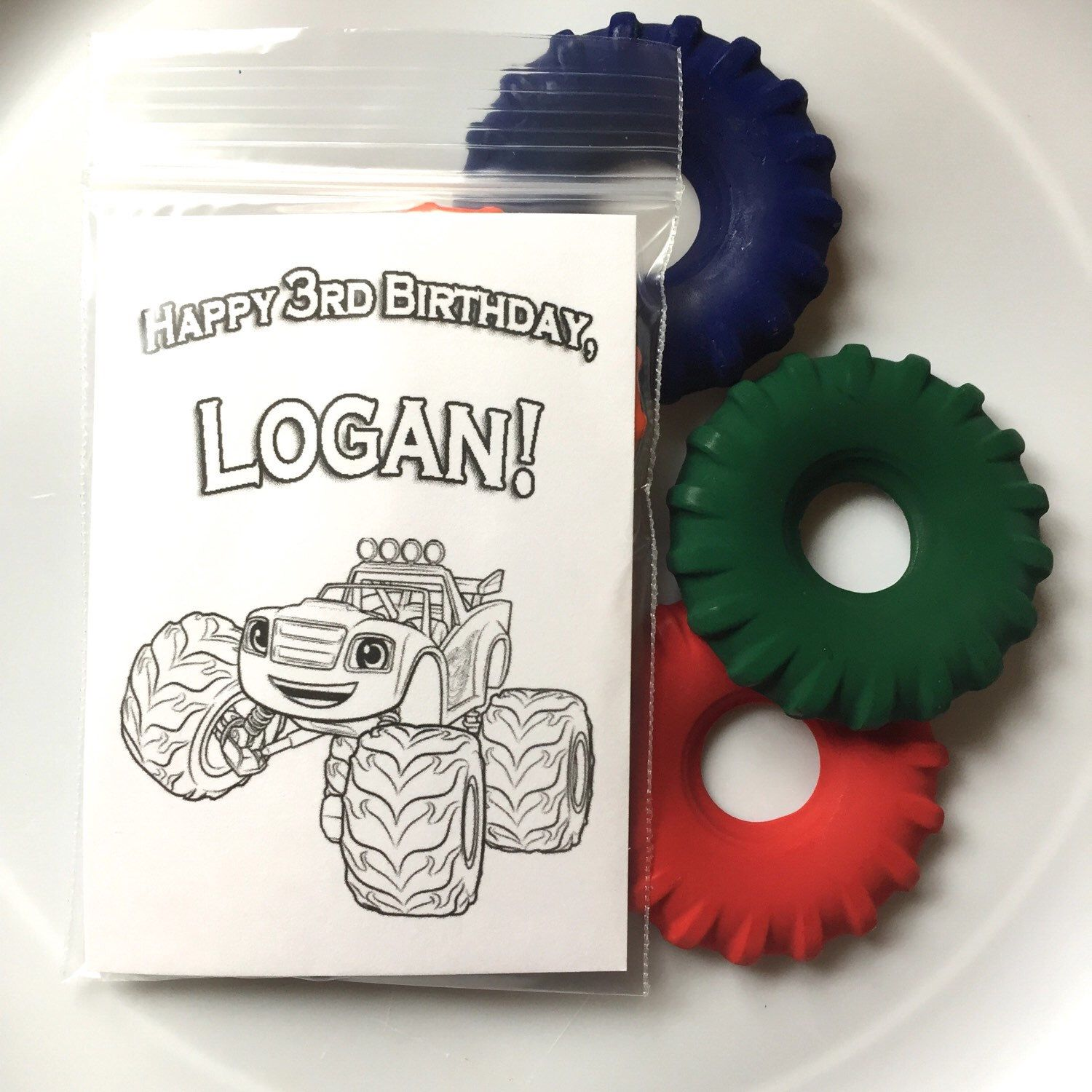 Blaze and the Monster Machines Party Favor Tire Shaped Crayon Packs - Art supplies or Birthday Party craft ideas and favors by ImageOak on Etsy https://www.etsy.com/listing/270812433/blaze-and-the-monster-machines-party