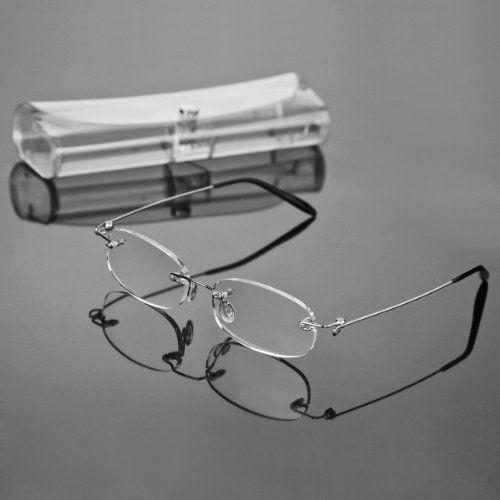 e78bdf4ffb90 Fashion Super Lightweight Unisex Design Book Map Menu Rimless Frameless  Magnifying Crystal Lenses Reading Glasses Clear