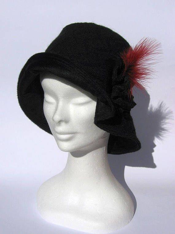 Cappello cloche nero grigio, cappello berretto lana ...