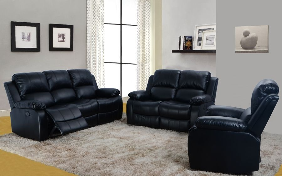 beverly furniture anderson leather black 3 pc reclining sofa set at rh pinterest es