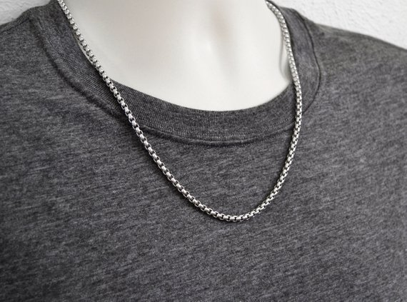 Mans Box Chain Necklace Silver Chains Stainless Steel Thick Etsy Silver Chain Necklace Mens Chain Necklace Mens Silver Necklace