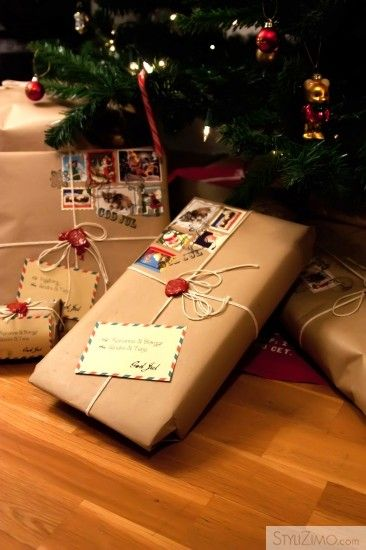 brown paper wrapped gifts with stickers for postage and string ties this reminds me of getting. Black Bedroom Furniture Sets. Home Design Ideas