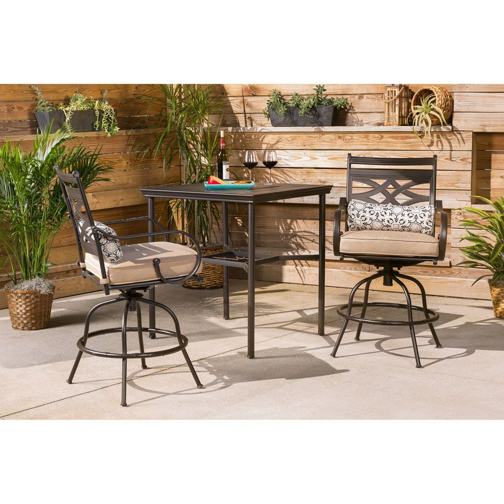 montclair 3 piece high dining set in country cork with 2 swivel rh pinterest com