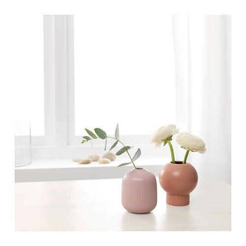 GRADVIS Vase, set of 2, natural, pink Catalog - farbe puderrosa kombinieren wohnen