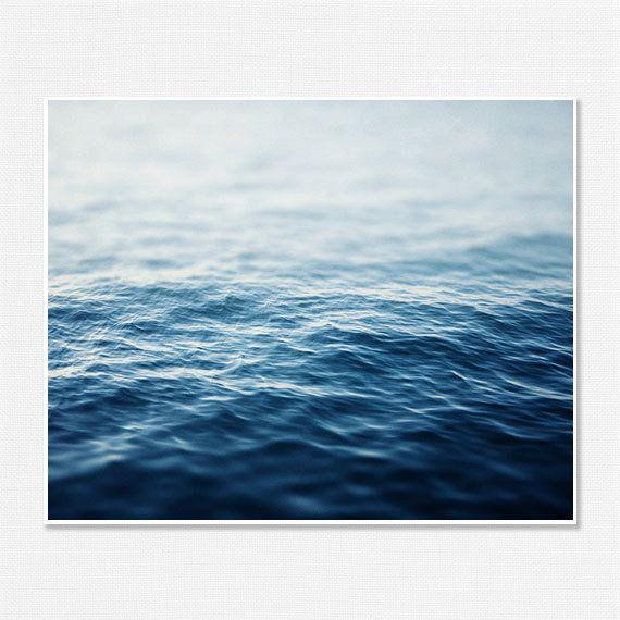Ombre Blue Sea Shark Week Beach Decor Modern Minimalist Wall Art 8x10 Water  Bathroom Bedroom Abstract
