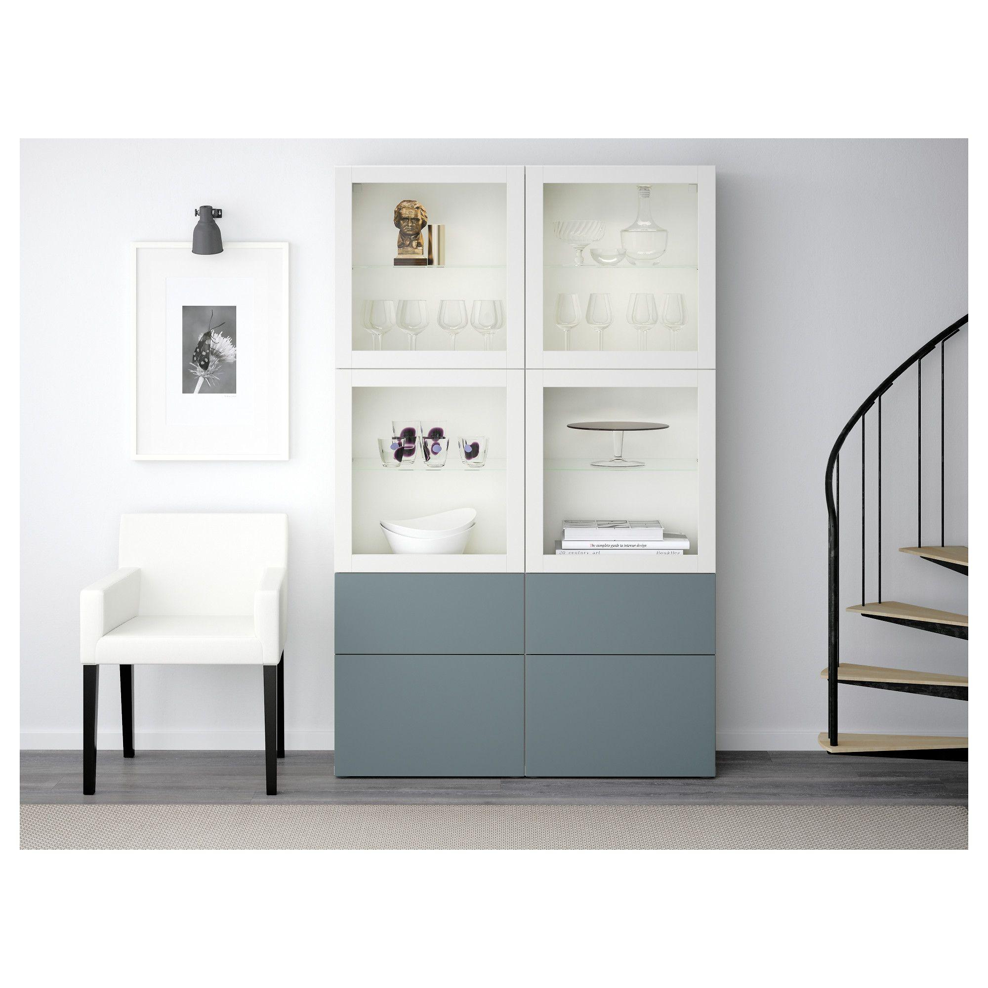Ikea Best Storage Combination Wglass Doors White Valviken