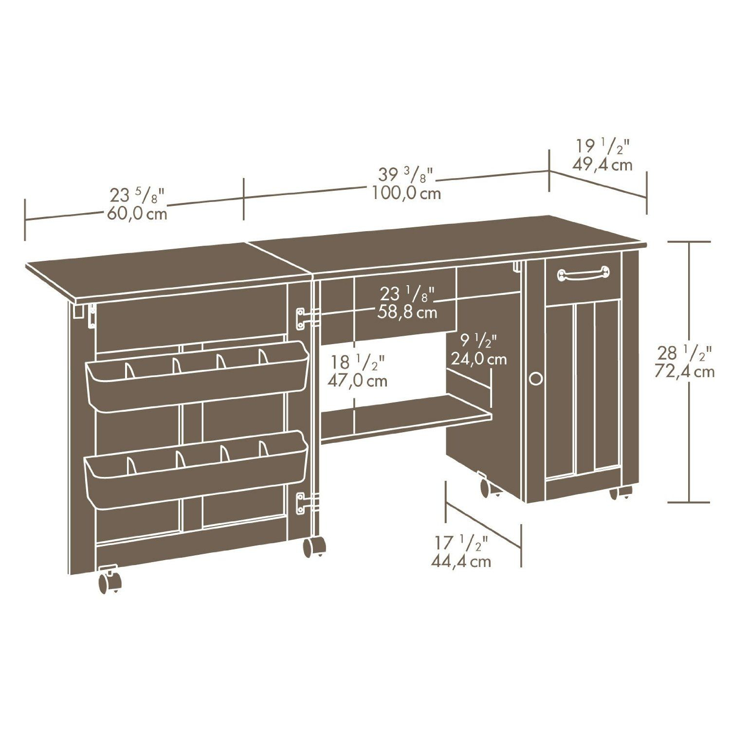 Amazon sewing craft table american cherry finish storage new sauder sewing machine craft table drop leaf shelves storage bins cabinets watchthetrailerfo