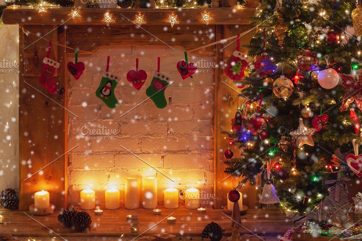 Christmas Setting Lantern Fireplace Christmas Settings Lanterns Fireplace Wood Ornaments