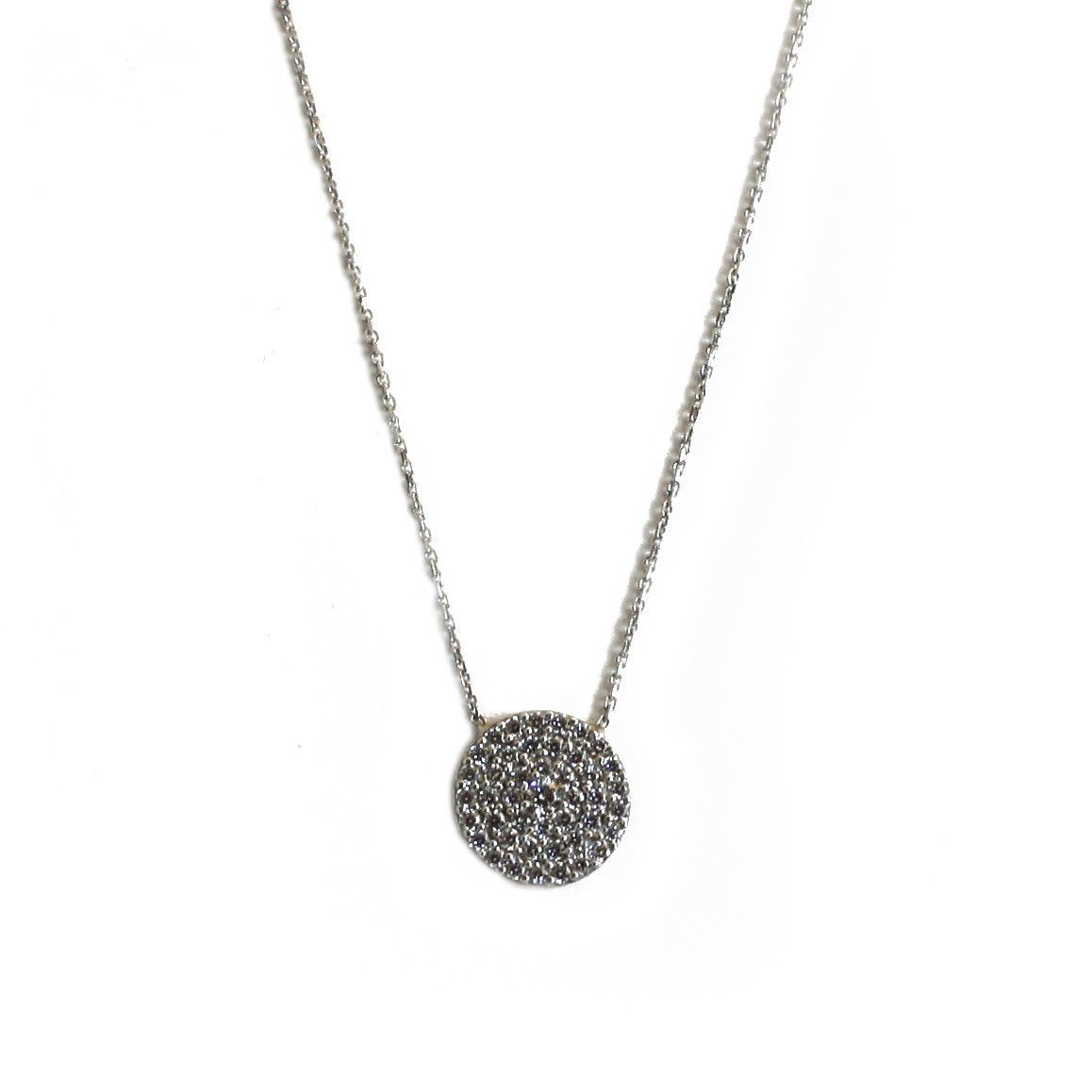 Peter & Gabby CZ Disc Necklace (Sterling Silver)