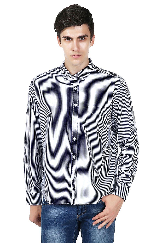 627b0036cd 1.Men's Casual Button Down Shirt(Vertical Stripe--Black&White) 2 ...