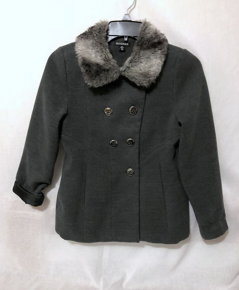 aa9df5dfd Details about Girls George size 10-12 Peacoat gray fur collar fully ...