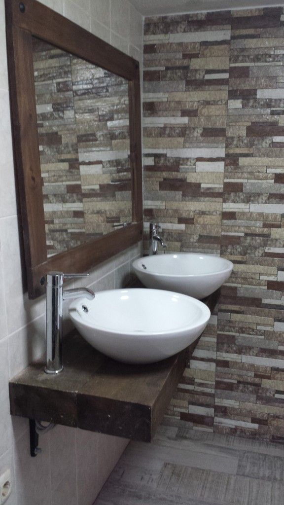 Ba o r stico lavabo doble travesa o de tren pinterest blog - Banos con paredes pintadas ...