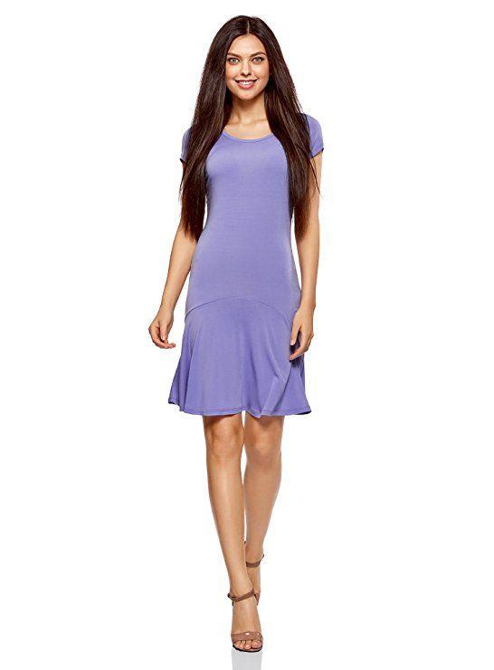 oodji Ultra Damen Jersey-Kleid mit Volants, Violett, DE 32 ...