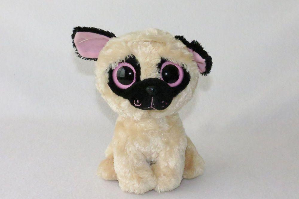 55bbadc500c Ty Beanie Boo Buddies Pugsly Pug Puppy Dog Plush Purple Tag Boos Big Eyes  8