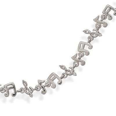 Sterling Silver 7.5 Inch Rhodium Plated Musical Note Bracelet