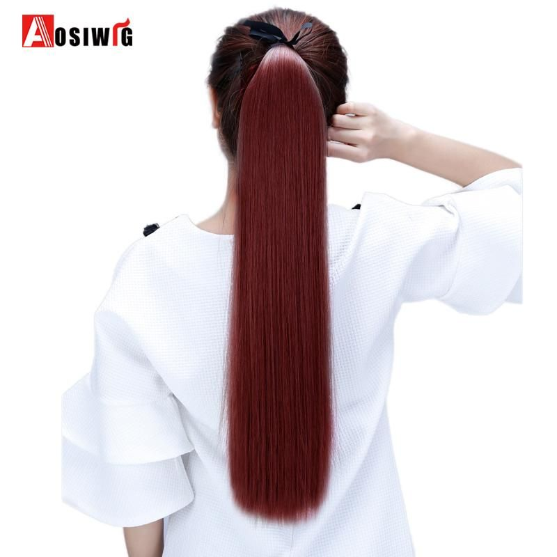 Aosiwig Long Straight Ponytails Hairpiece Clip In Ponytail