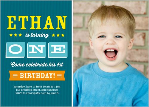 Standout one boy 5x7 photo card by shutterfly baby boys 1st shutterfly offers first birthday invitations for boys in a variety of colors and styles personalize birthday invites for your little guys special day stopboris Image collections