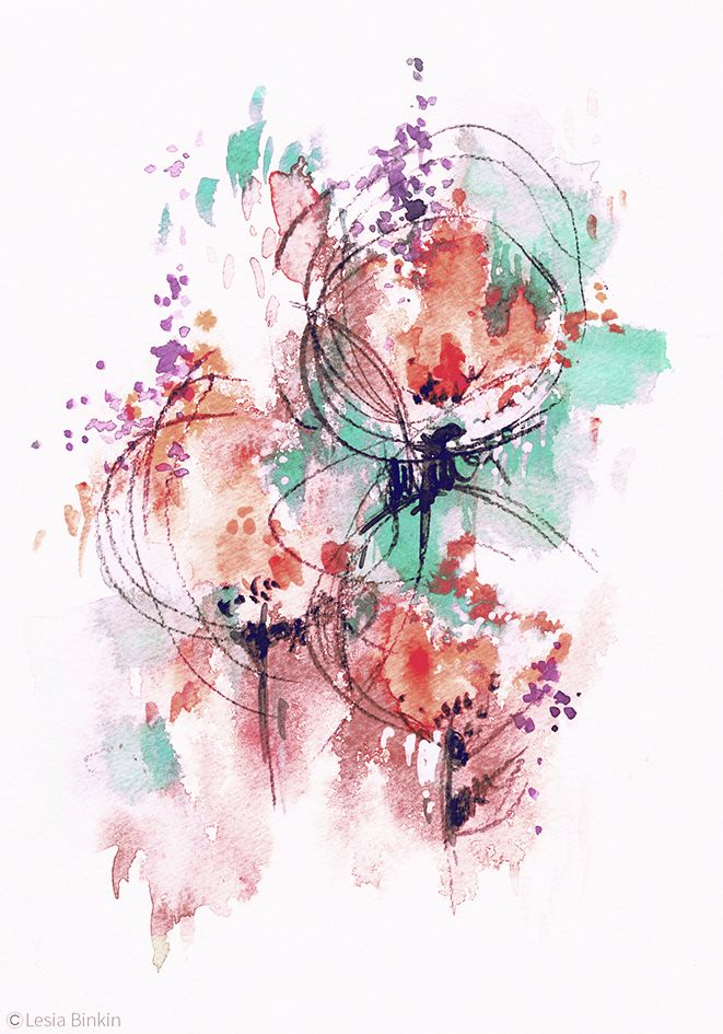 watercolor abstract flower painting