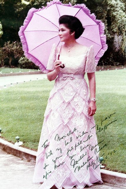 Imelda Marcos by the palace grounds, 30 years ago | Dresses ...