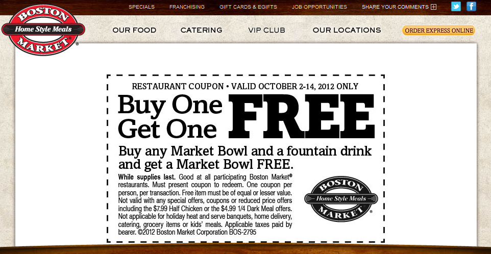 Second 7 market bowl free with your drink at Boston