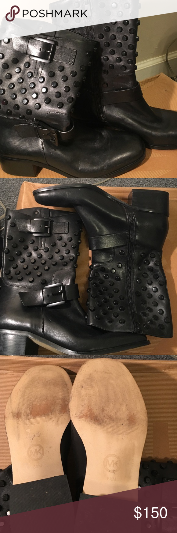 Authentic Micheal Kors studded boots size 8 1/2 Black Micheal Kors studded biker boot these are practically new this is an awesome boot will have for a long time to come. Michael Kors Shoes Combat & Moto Boots