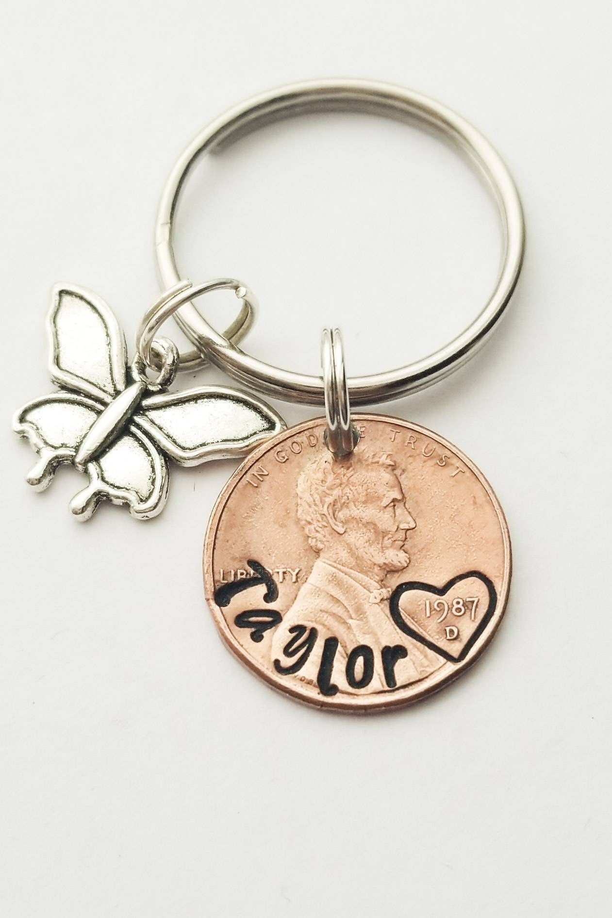 Personalized LUCKY PENNY Keychain Birthday Gift For Daughter Best Friend Girlfriend Mom