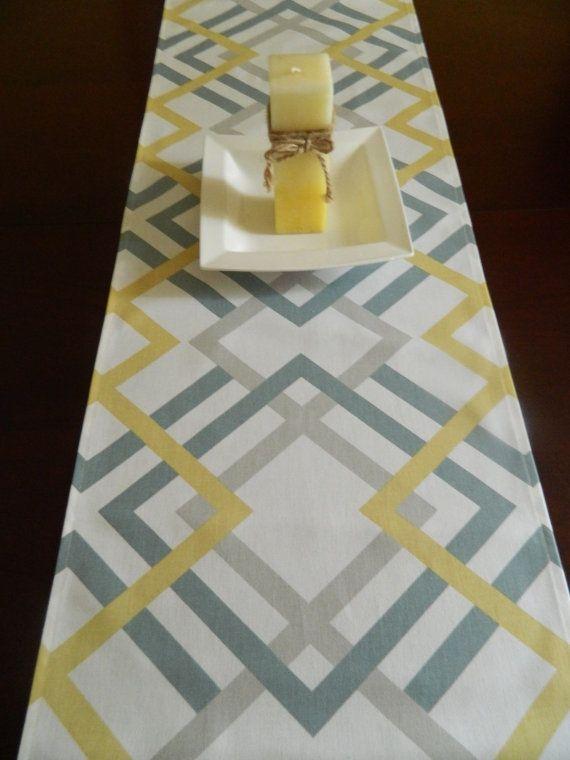 Modern Table Runner Grey Blue And Saffron By Babygigglesonline
