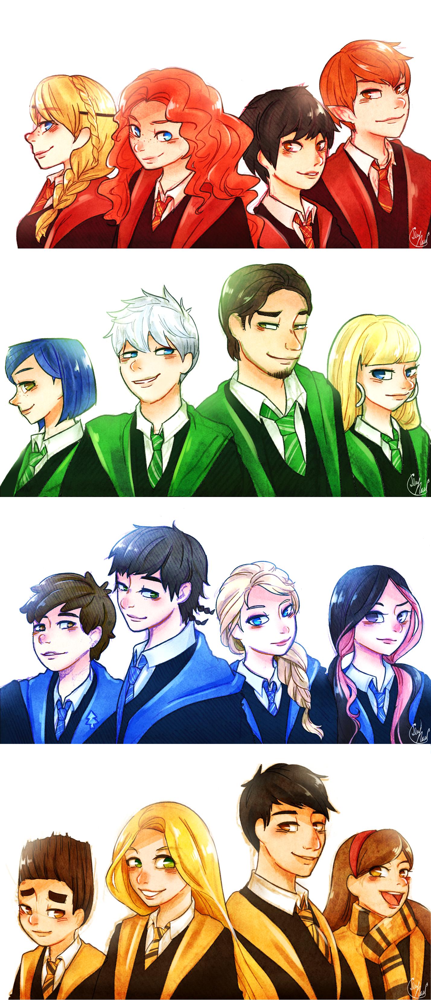 Anime Characters Hogwarts Houses : Lime hael hogwarts au houses by disney