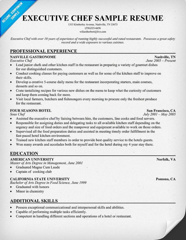 Resume Samples And How To Write A Resume Resume Companion Chef Resume Cover Letter For Resume Sample Resume
