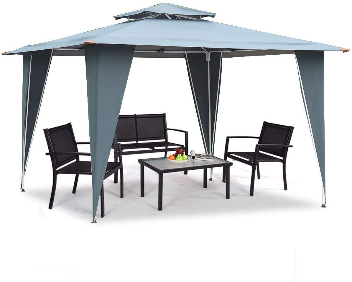 Phonecessity 2 Tier Gazebo Canopy Shelter Outdoor Awning Tent With Steel Frame Patio Garden Canopy 11 5 X11 5 Gray Outdoor Awnings Gazebo Canopy Gazebo