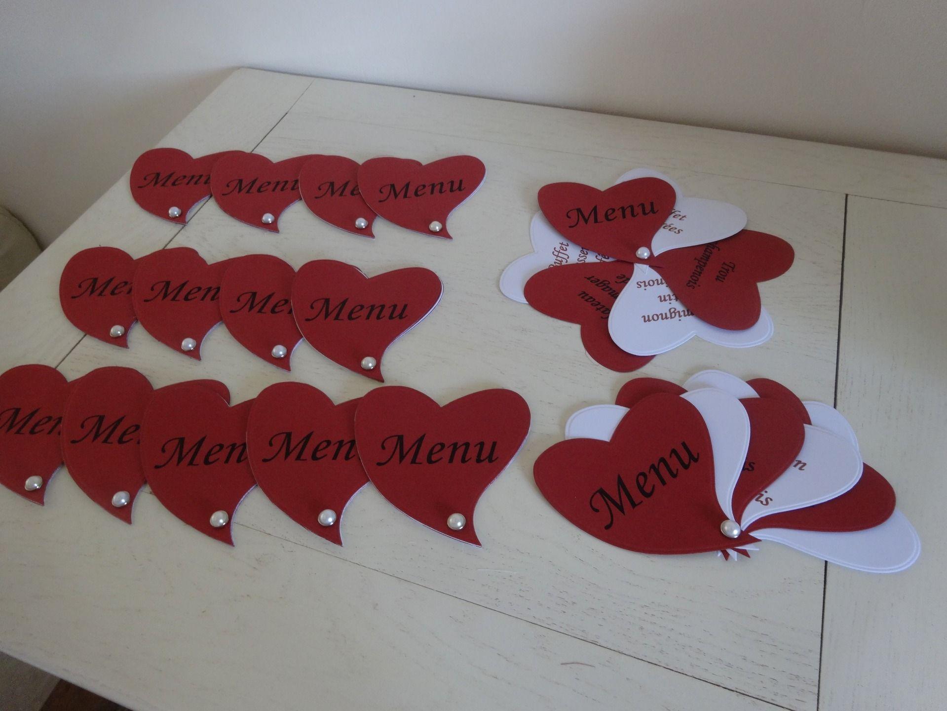 Menu pour mariage en forme de coeur sur le th me du blanc for Deco en forme de coeur