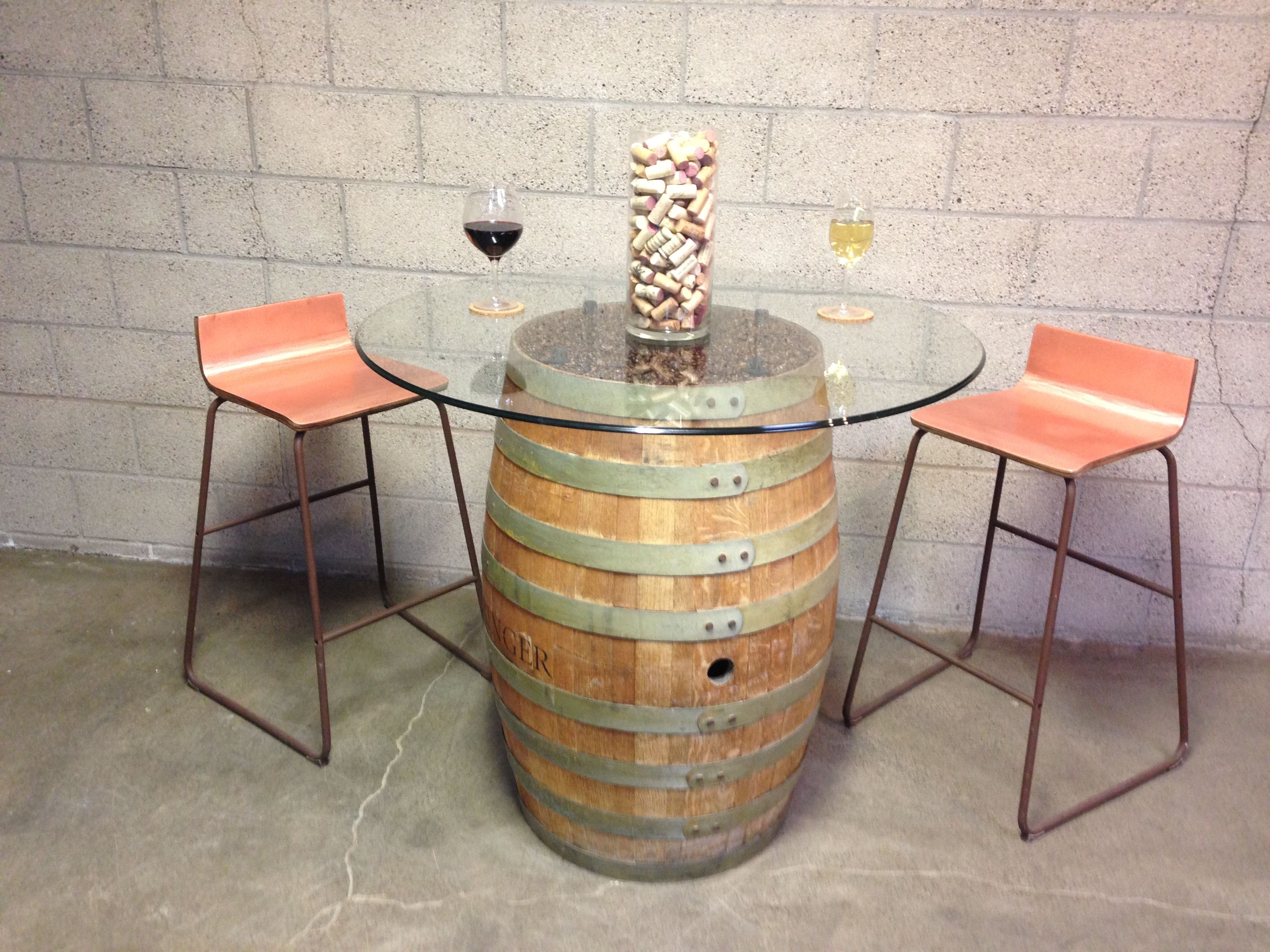 Kask  Authentic Wine Barrel Converted Into A Bistro Style Table,glass Top  Mounted On