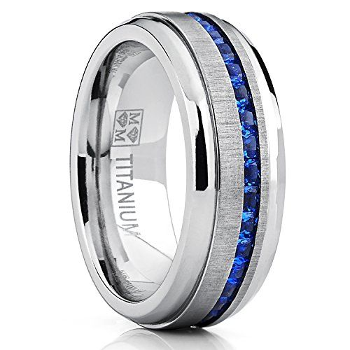mens titanium wedding band engagement ring w blue simulated sapphire cubic zirconia princess cz 8 - Mens Sapphire Wedding Rings