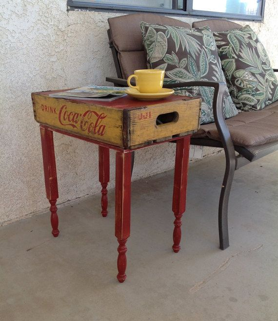 Repurposed Vintage Coca Cola Crate End Table Upcycled E Furniture
