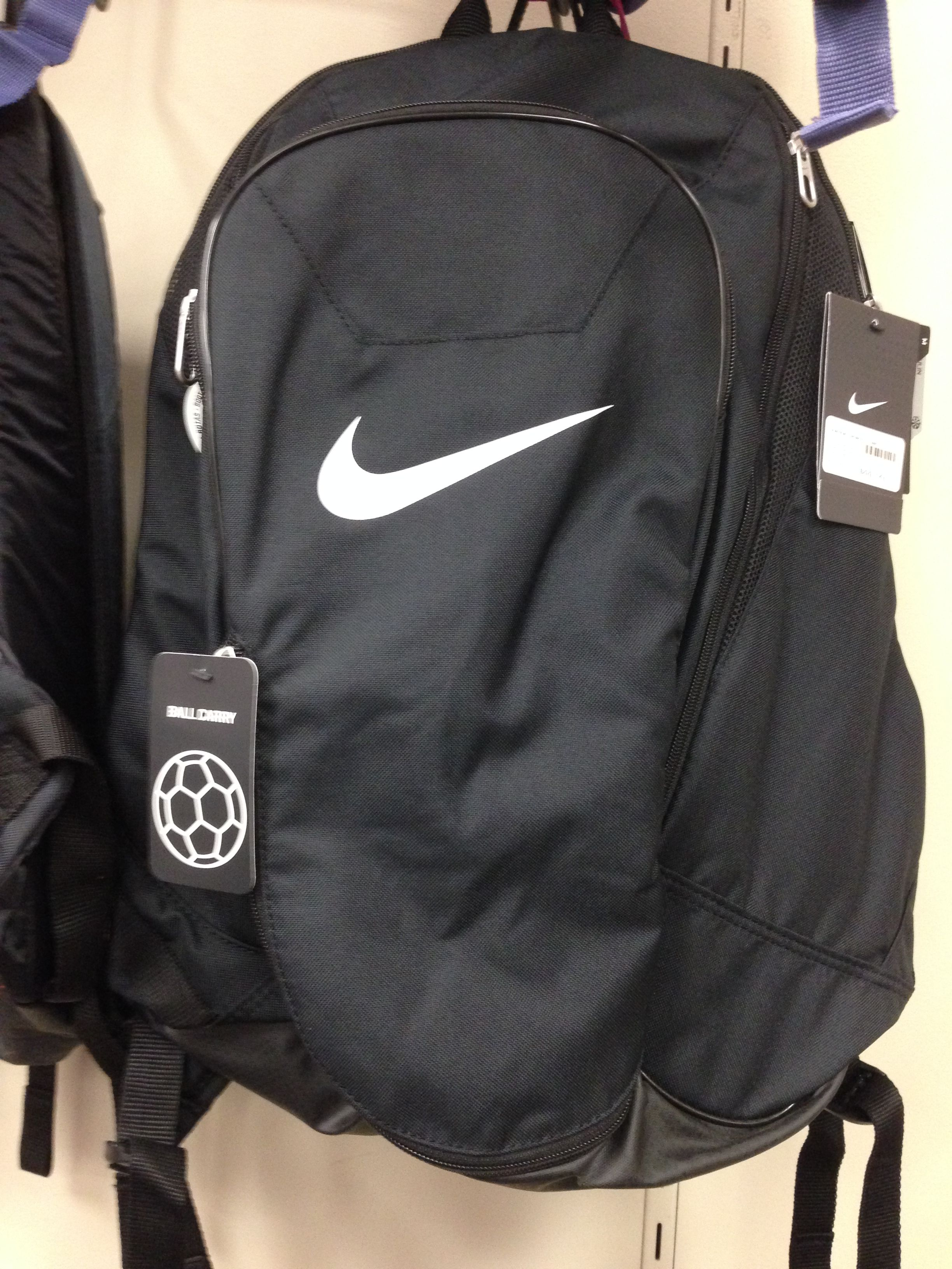 Black Nike Soccer Backpack; Backpack with Ball Carry