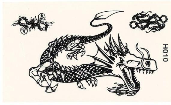 Photo of Mini Chinese Dragon Temporary Tattoo – Small Mini Version Black & White Dragon Temporary Tattoo – Mi