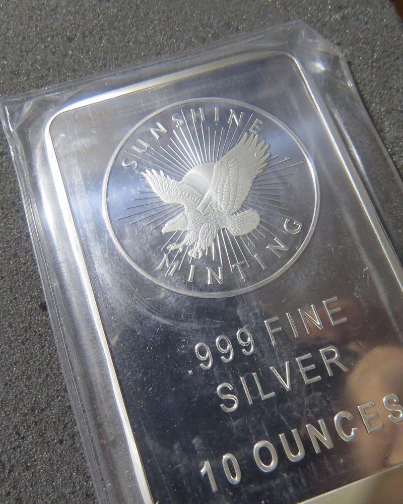 10 Oz Sunshine 0 999 Fine Silver Bar Silver Bars Fine Silver Silver Bullion