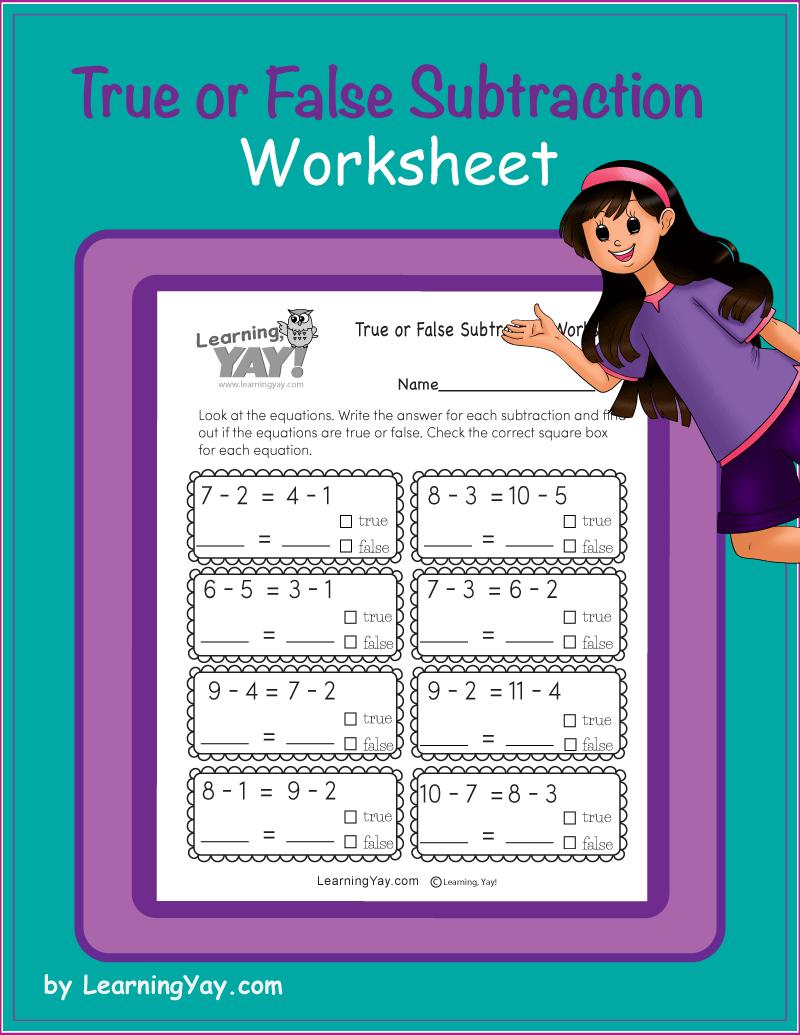 First Grade True or False Subtraction Worksheet   First grade math  worksheets [ 1035 x 800 Pixel ]