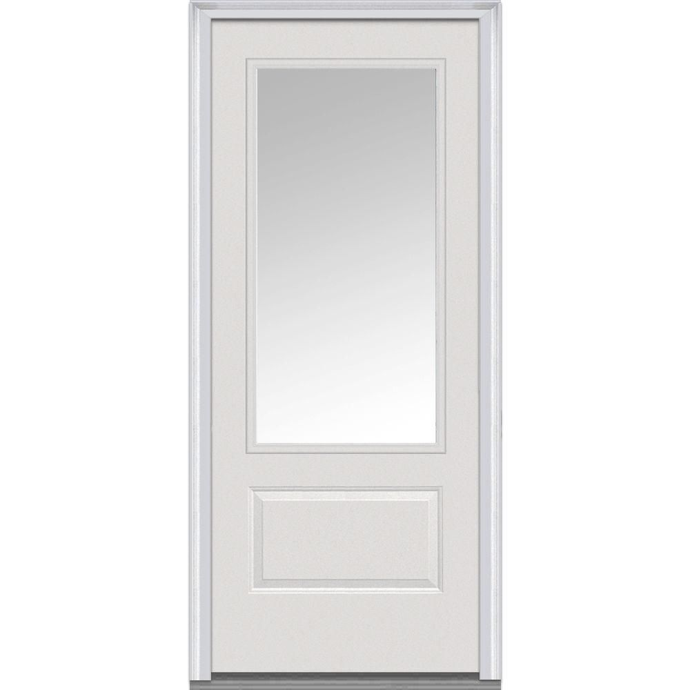 Mmi Door 36 In X 80 In Clear Right Hand 3 4 Lite 1 Panel Classic Primed Fiberglass Smooth Prehung Front Door Z000370r The Home Depot Exterior Doors With Glass Mmi Door Exterior Doors