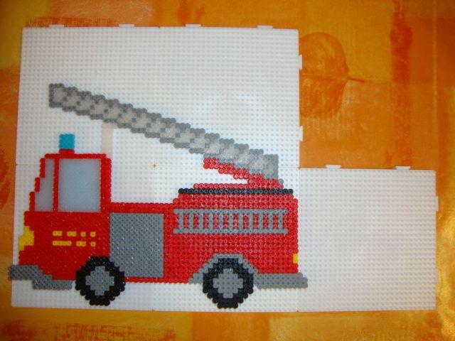 Fire engine hama beads by Borgine