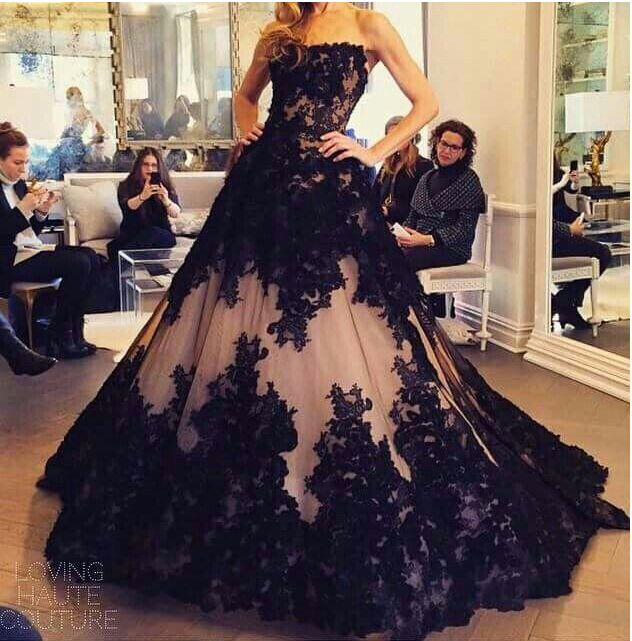 243f4d88457 Black Lace Luxury Evening Dresses 2015 A-line Strapless Backless Sweep  Train Tulle Formal Party Dresses