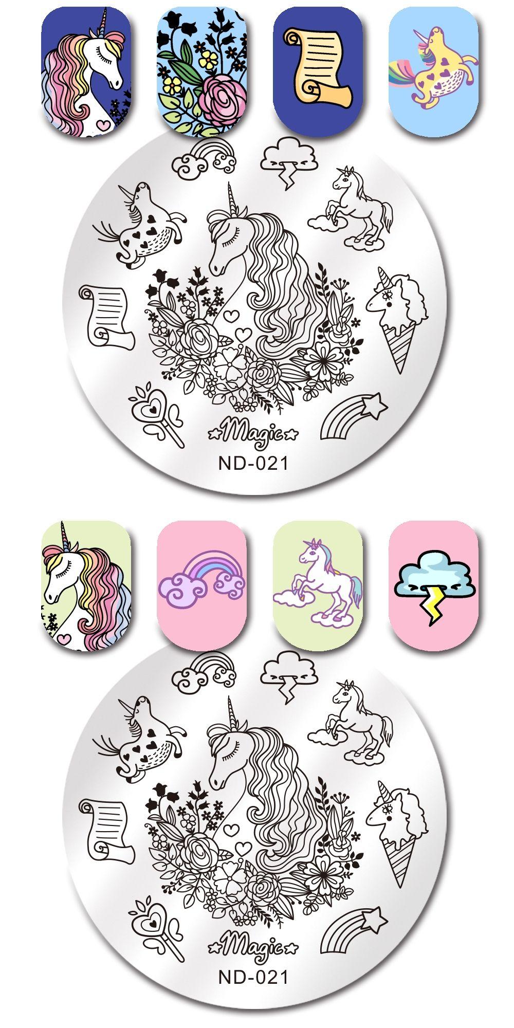 Nicole Diary Unicorn Horse Nail Stamping Plate Round 55cm Nail Art