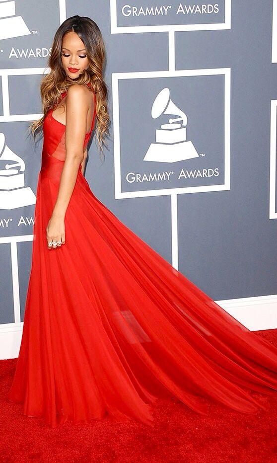 Rihanna in a Fiery Red Azzedine Alaia Dress ️Perfection ...