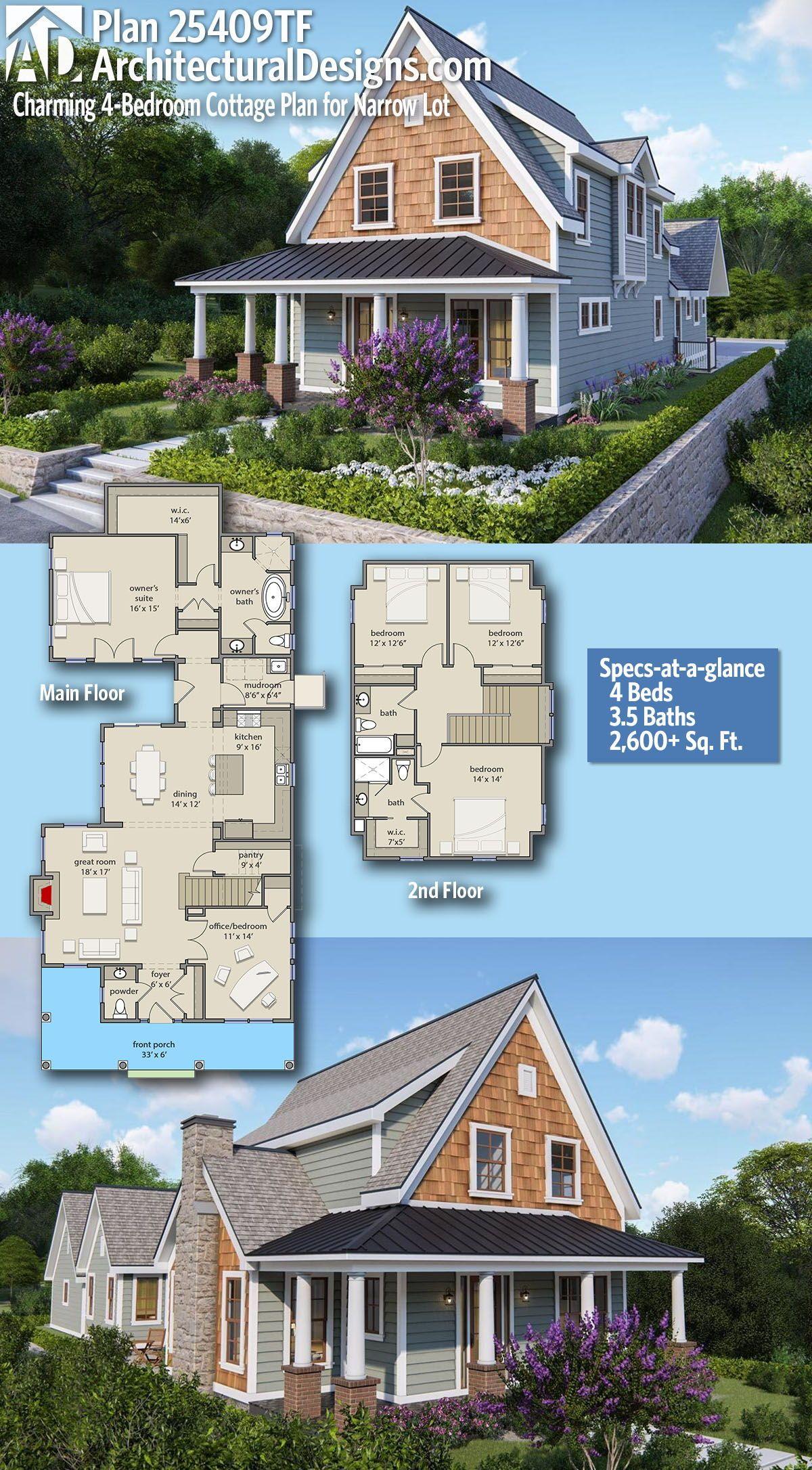 Plan 25409tf Charming 4 Bedroom Cottage Plan For Narrow Lot Cottage Plan Farmhouse Cottage Plans House Floor Plans