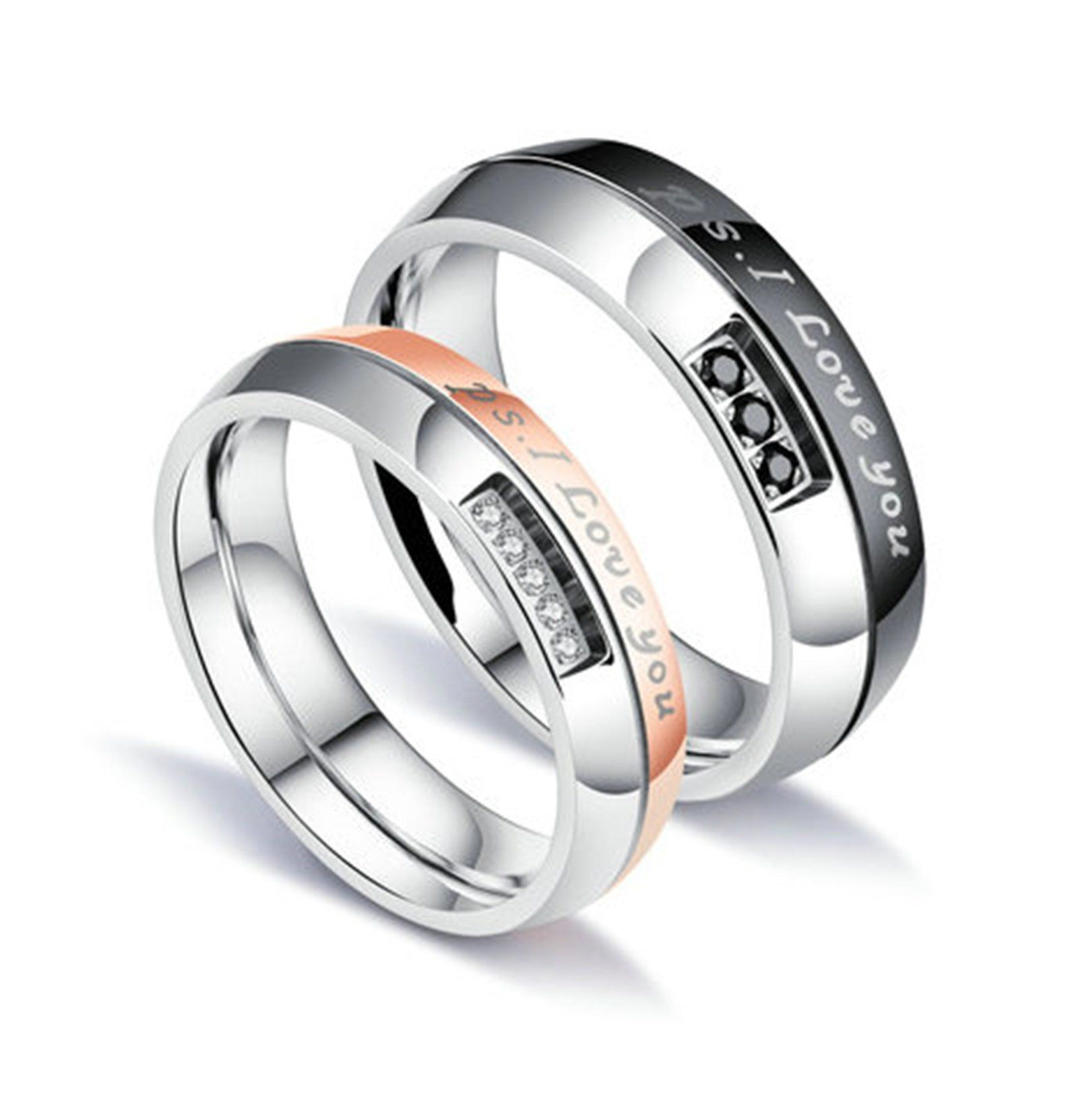 Beydodo 1pcs Stainless Steel Ring 5 Cubic Zirconia Engraving Ps I Love You Width Wedd Engagement Rings Couple Beautiful Jewelry Ring Promise Jewelry