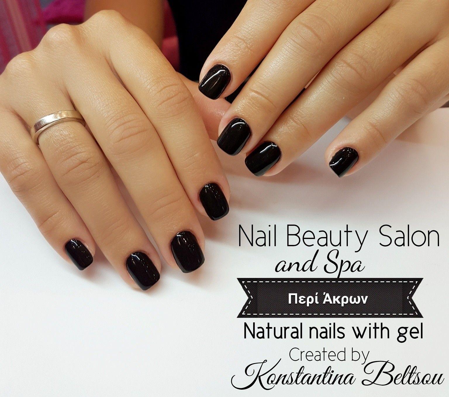 Natural nails with gel, square nails, short nails, black ...