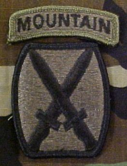 10th Mountain Division Patch Army BDU Subdued with Mountain