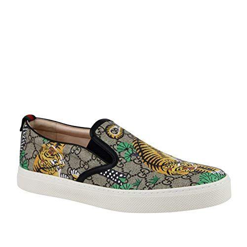 5731e9e2b3a Gucci Mens Bengal Tiger Beige GG Supreme Canvas Slip Sneakers 407362 8680